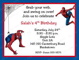 invitations cards free spiderman birthday invitations personalized free printable