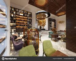 Fashionable Modern Style Library Bar Art Deco Style Elegant