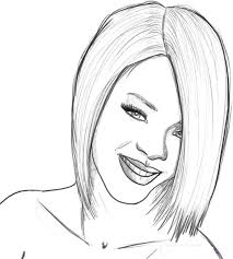 Small Picture Coloring page Famous People Rihanna 1