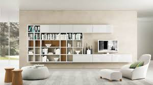 modern living room white. Contemporary Living Room Furniture In White Theme With Wall Mounted Bookshelf And Tv Sets Made Of Modern