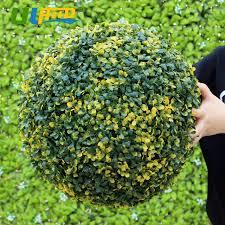 Decorative Boxwood Balls ULAND Yellow Artificial Boxwood Balls Plastic Plants Kissing Balls 47
