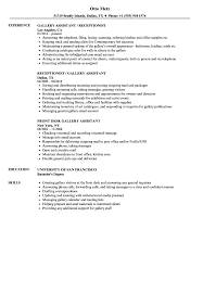 Art Gallery Resume Sample Gallery Assistant Resume Samples Velvet Jobs 10