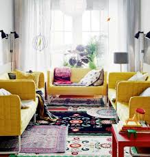 modern style living room furniture. Living Room : Minimalist Bohemian Design With Boho Fabric Carpet And Yellow Modern Laminated Sofa Sets Also White Curtain Added Drum Style Furniture D