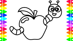 Learn How To Draw And Color Cute Cartoon Worm Eating Apple Coloring