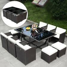 wicker outdoor dining set. 11 PCS Outdoor Patio Dining Set Metal Rattan Wicker Furniture Garden Cushioned