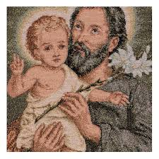 saint joseph with lily tapestry 16x12