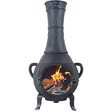 Amazon Com The Blue Rooster Cast Aluminum Pine Style Wood Burning Chiminea In Charcoal Garden Outdoor