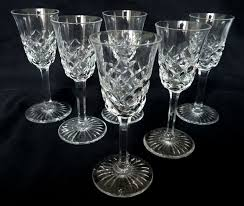 baccarat 6 crystal wine glasses burgos pattern signed 14cm