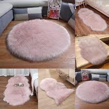 pink wool sheepskin fluffy area rug chair sofa cover warm carpet seat pad