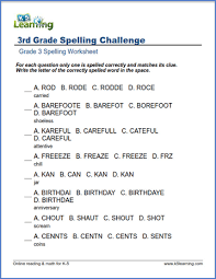 Printables for third grade english language arts. Spelling Worksheets For Grade 3 K5 Learning