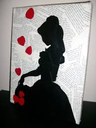book page art ideas canvas book pages mod podge belle silhouette and paint super of book