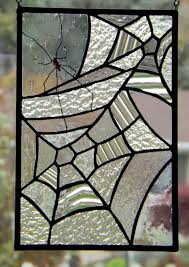 Spinning Stained Glass Spider Web Panel Clear Textured Glass Red