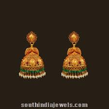 Gold Jhumka Designs For Bridal Gold Antique Bridal Jhumka From Vbj South India Jewels