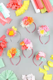 How To Make A Flower Out Of Tissue Paper Step By Step Paper Flower Headband Diy