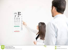 Patient And Optician Doing Eye Test With Eye Chart In Clinic