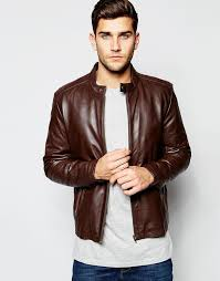 asos brand leather racing biker jacket in brown