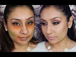 how to hide dark circles blemishes with orange green eyeshadow makeup with raji