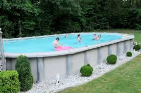 oval shaped above ground family pool