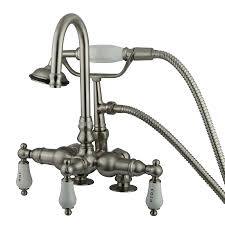 kingston brass vintage satin nickel 3 handle fixed wall mount bathtub faucet