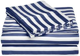 blue and white striped sheets. Fine White Amazoncom Cotton Blend 600 Thread Count Deep Pocket Soft Wrinkle  Resistant 3Piece Twin Bed Sheet Set Cabana Stripe Navy Blue Home U0026 Kitchen On Blue And White Striped Sheets Amazoncom