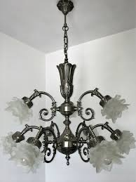 Chandelier Kronleuchter Decken Lampe Massiv Messing Aus 9 Fl