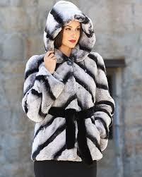 penelope rex rabbit fur jacket with belt in chinchilla print