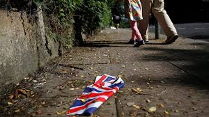 brexit will be terrible for africa s largest economies including  british flag which was washed away by heavy rains the day before lies on the street