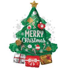 Karácsonyfa Ajándékokkal Héliumos Fólia Lufi, 86 cm