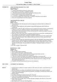 Residential Aide Resume Samples Velvet Jobs