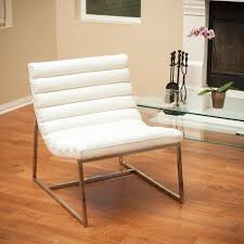 Leather Bedroom Chairs Kingsbury White Leather Lounge Accent Chair Gdf Studio