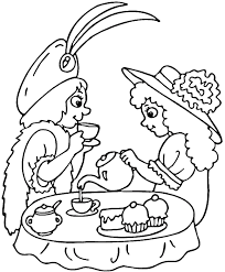Small Picture Printable Tea Party Coloring Pages Coloring Coloring Pages