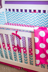 Mix in other patterns like a bold pink polka dot. Love all these colors for  a little girl nursery