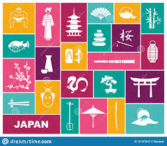 Traditional Symbols Japan Icons Vector Illustration Flat Icon Traditional Symbols Of