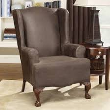 sure fit stretch leather wing chair slipcover brown