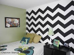 The Chevron Stencil from Cutting Edge Stencils in black and white. http://