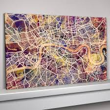 london map art print blue canvas purple burgandy amber canvas