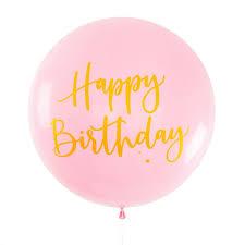 Balloon Jumbo Round Printed Happy Birthday Pink With Gold Print