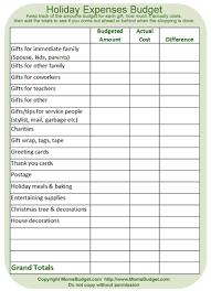 Holiday Expenses Budget Worksheet