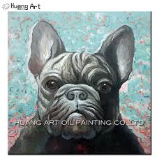 top artist hand painted grey dog animal oil painting on canvas french bulldog oil painting picture art for room wall artwork in painting calligraphy from