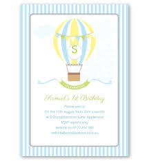 Balloon Birthday Invitations Blue Hot Air Balloon Birthday Invitation Love Jk