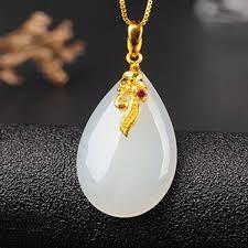 24k gold white jade pendant necklace