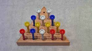 Wooden Triangle Peg Game