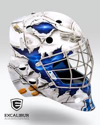 jet goalie mask designed and airbrushed by ian johnson