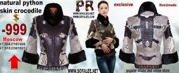 short womens exclusive jacket of genuine crocodile python snake skin with mink fur collar