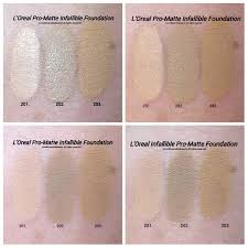 l oreal infallible pro matte foundation swatches of shades 101 clic ivory 102 s beige 103 natural buff shades are mislabeled in picture as 201