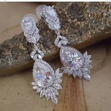 on wedding earrings pageant earrings white gold plated c