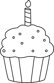 birthday cupcake clip art black and white. Exellent Black Black And White Birthday Cupcake Clip Art   Image Outline For And E