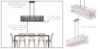 from the table will increase by approximately 3 inches for every foot therefore if the room has a 9 foot ceiling then the distance of the chandelier