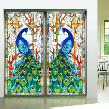 custom size top grade self adhesive or static cling decorative frosted privacy window retro stained