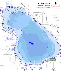Lake Mi Depth Chart Black Lake Map Cheboygan County Michigan Fishing Michigan